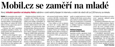 Podpora Mobil.cz v sobotním vydání MF Dnes