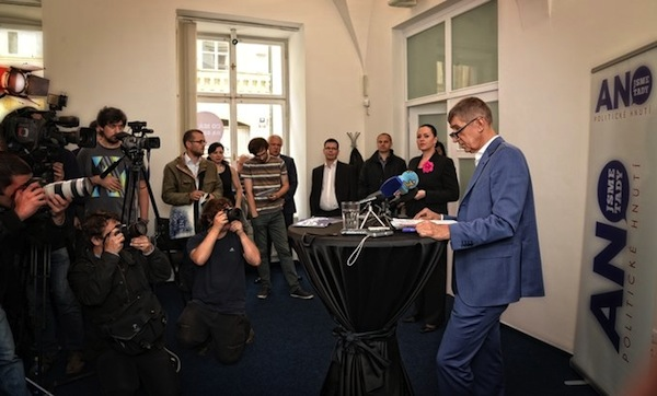 Andrej Babiš na dnešní tiskové konferenci svého politického hnutí ANO. Repro: ano2011.cz