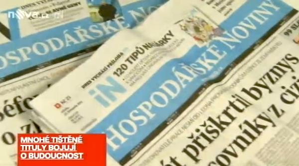 Diváci Televizních novin se dozvěděli, že Hospodářské noviny možná už nebudou vycházet
