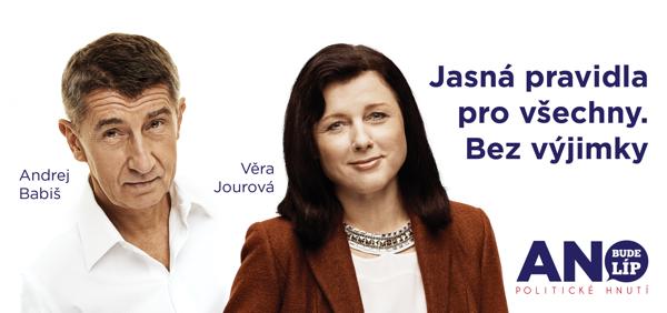 Věra Jourová a Andrej Babiš na plakátu Ano
