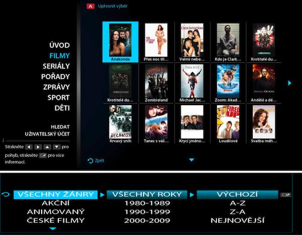 Filmy lze vybírat procházením, anebo prostřednictvím zpřesněného výběru