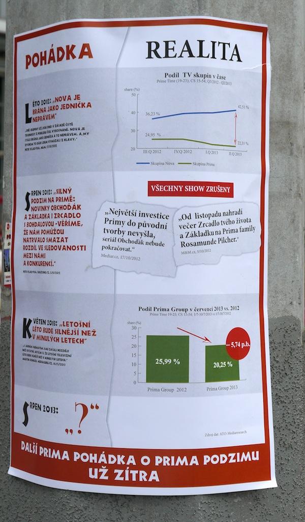 Plakát podporující Novu a kritizující Primu. Kliknutím zvětšíte