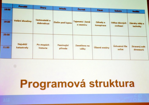Programové schéma kanálu Prima Zoom