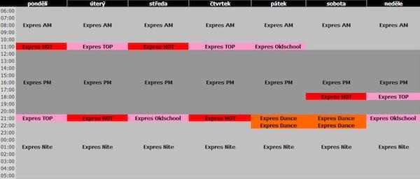 Programové schéma Óčka Expres
