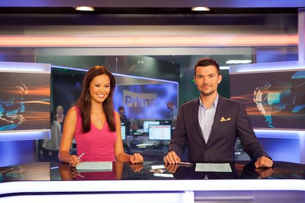 První ze studia vysílala nová dvojice odpoledních zprávařů Monika Leová a Tomáš Drahoňovský. Foto: TV Prima