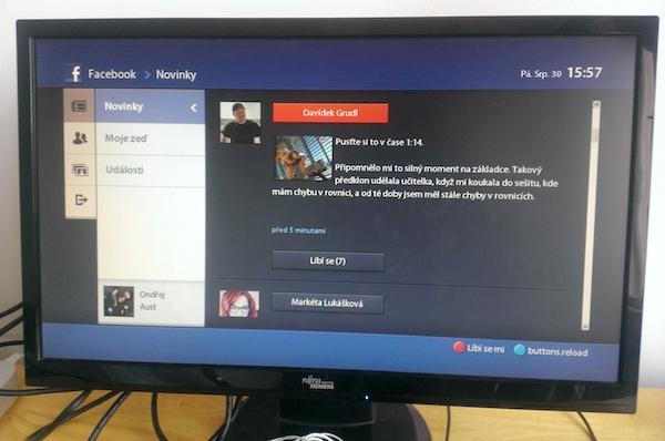 Facebook ve Voyo Playeru je jako v chytrých televizorech zatím v primitivním, polofunkčním stavu