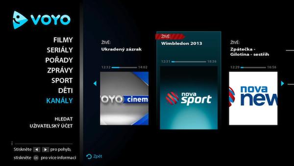 Výběr z lineárně vysílaných kanálů