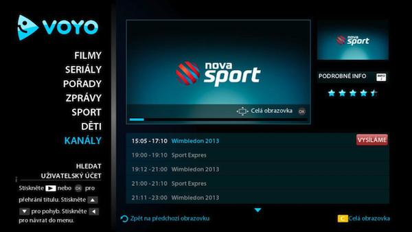 Pod oknem s vysíláním vybraného kanálu se zobrazuje i programový průvodce