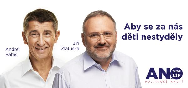 Jiří Zlatuška a Andrej Babiš na plakátu Ano