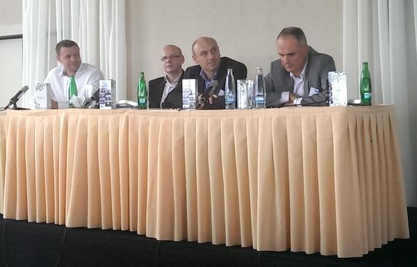 Zleva Filip Doubek, Pavel Kejla, Jan Vlček a Petr Chajda na konferenci Flema