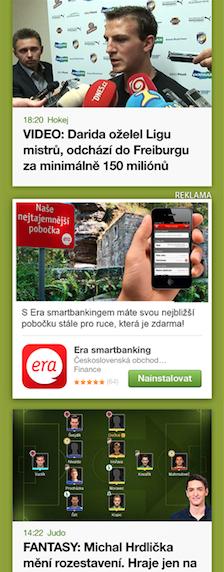 Uprostřed screenshotu z mobilní aplikace AppKlik, nový reklamní formát Seznamu