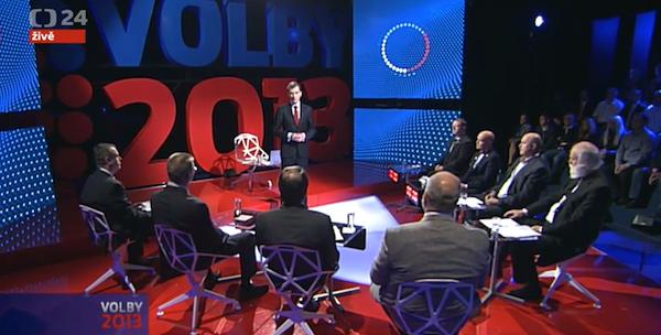 Debata ČT24 v Karlových Varech byla první ze čtrnácti. Repro: ct24.cz