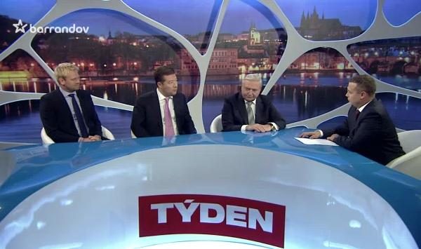 Debatu Barrandova tentokrát moderoval František Nachtigall, komentoval Jaroslav Plesl. Repro: barrandov.tv