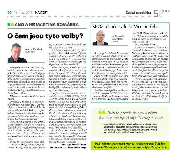 Text Martina Komárka na názorové stránce 5plus2 ze 17. října