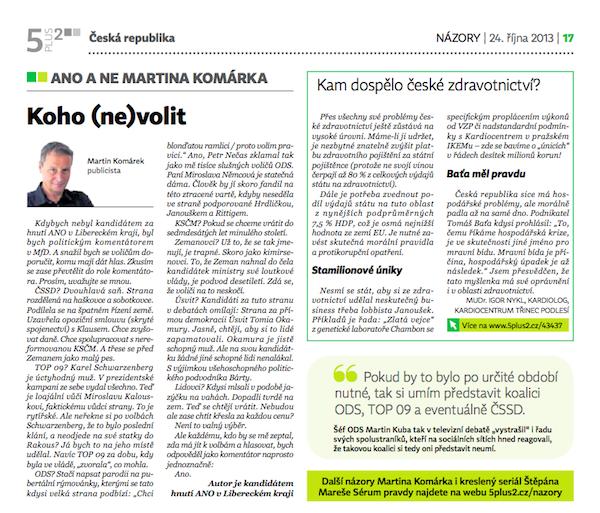 Text Martina Komárka na názorové stránce 5plus2 ze 24. října