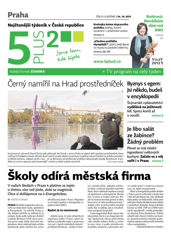 Titulní strana 5plus2 ze 24. října. Straně ANO shání voliče Marie Rottrová