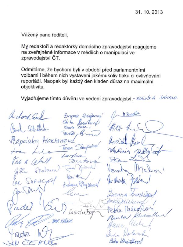 Dopis 61 redaktorů vyjadřujících podporu vedení zpravodajství