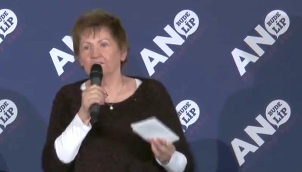 Jana Lorencová na zářijovém mítinku Babišova hnutí ANO v Ostravě