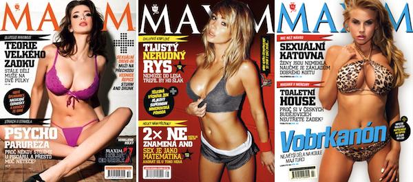 Maxim na obálkách ukazuje ženy, nikoli jejich odhalené bradavky