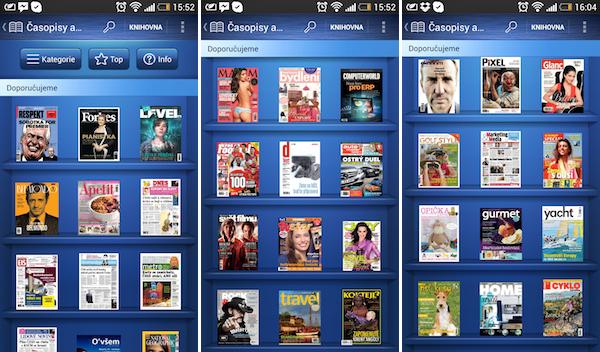 Noviny a časopisy v aplikaci O2 Čtení