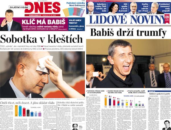 Volební speciály deníků MF Dnes a Lidové noviny vyšly mimořádně v neděli