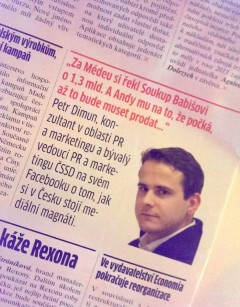 Časopis Marketing & Media cituje Facebook Petra Dimuna