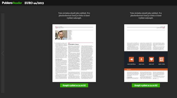 V digitálně trafice Publero lze koupit Euro i se stránkami vypadlými z tisku