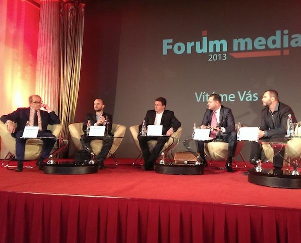 Zleva Michel Fleischmann, Michal Feix, Martin Konrád, Kamil Čermák a Štěpán Košík na Foru Media