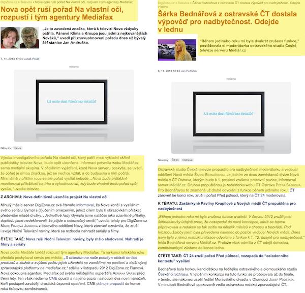 Články Médiáře na Digizone - rozsah přebírané informace