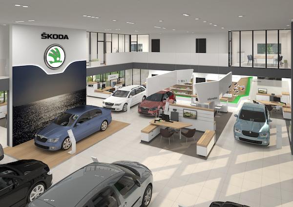 Nový design prodejen Škoda Auto: celkový pohled na interiér