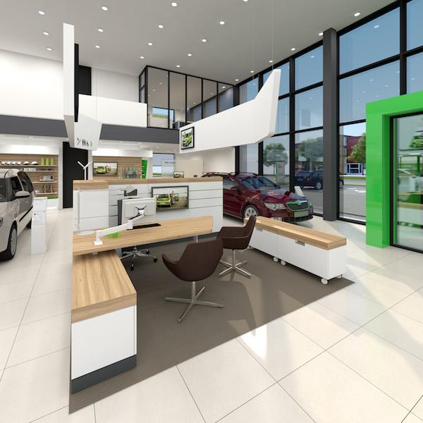 Nový design prodejen Škoda Auto: uvítací část
