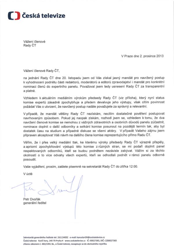 Dopis Petra Dvořáka Milanu Uhdemu z 2. prosince, v přílohách odkazy na pondělní článek iDnes.cz