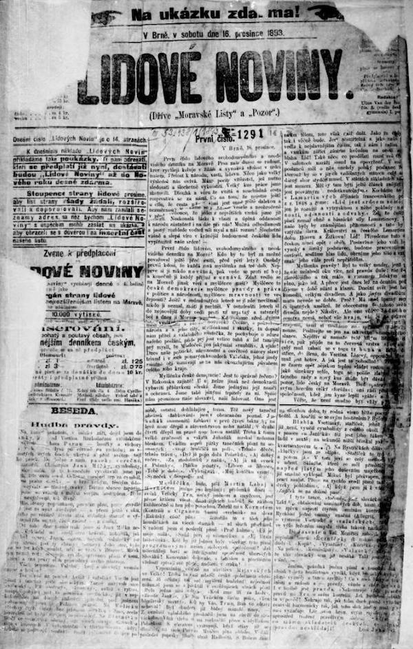 První vydání Lidových novin z 16. prosince 1897