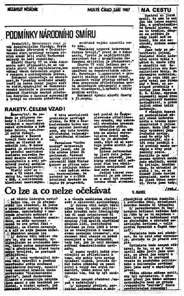 První číslo samizdatových Lidových novin ze září 1987. Repro: LN