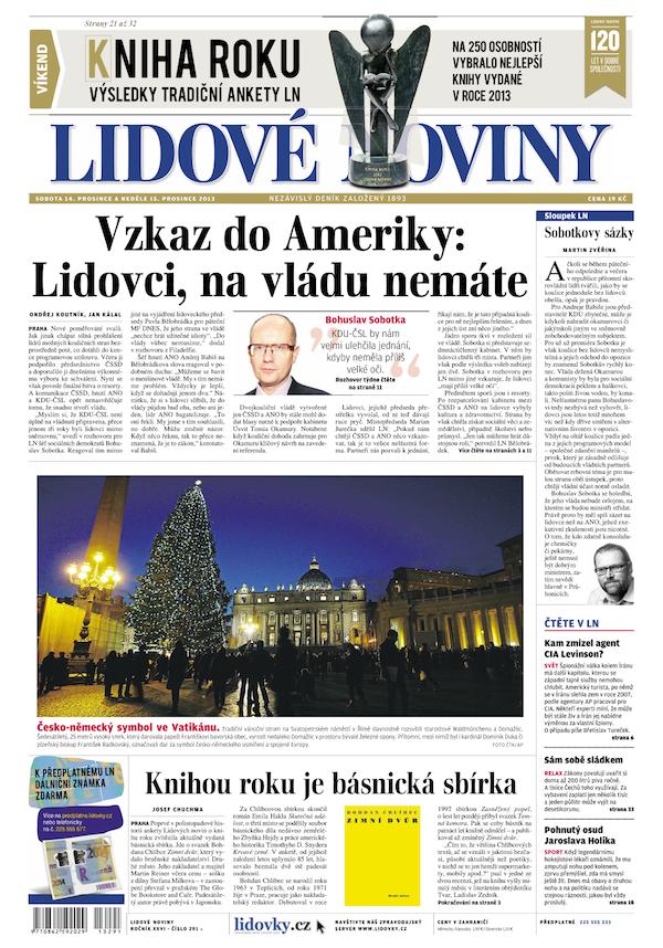 Vydání Lidových novin ze soboty 14. prosince 2013