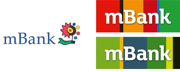 Vlevo dosavadní logo mBank, vpravo dvě varianty nového - nahoře základní, dole pro podnikatele