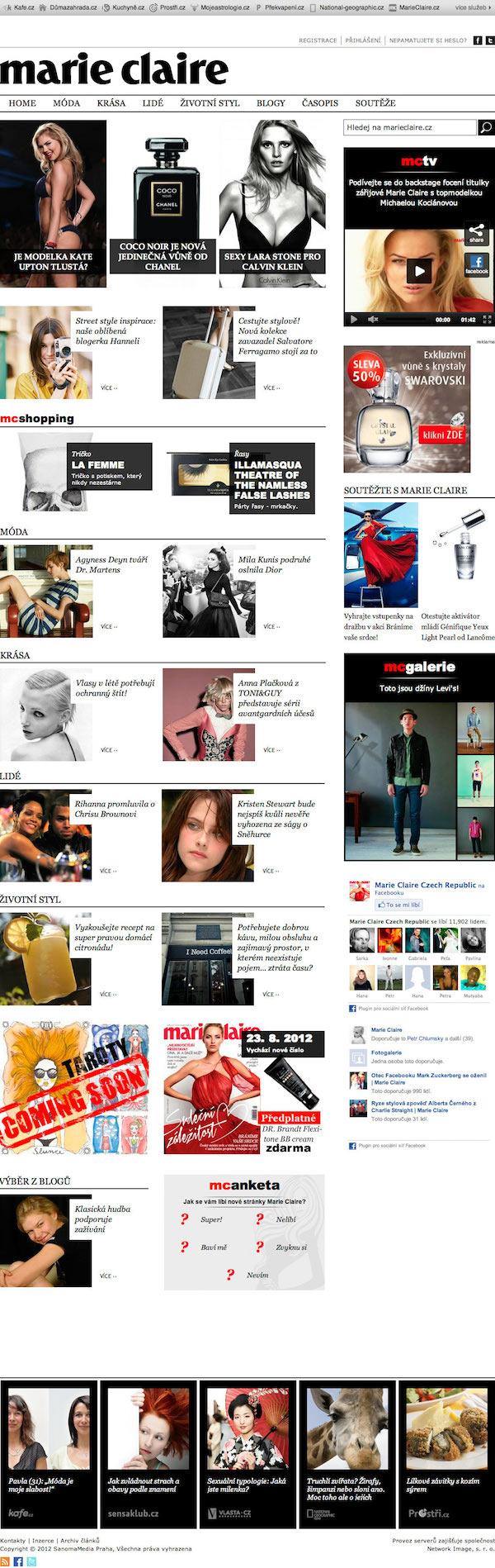 Původní verze Marie Claire, kterou Sanoma spustila v srpnu 2012