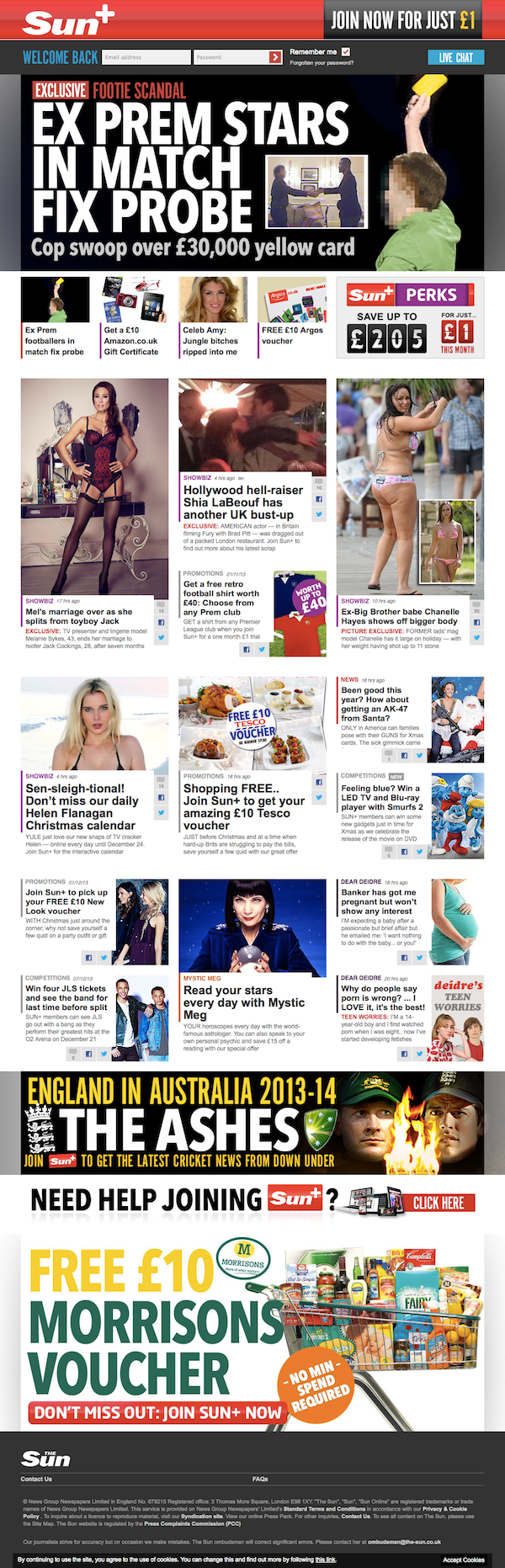Titulní strana zpoplatněného webu The Sun
