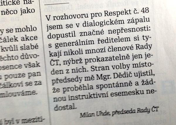 Upřesnění Milana Uhdeho v Respektu z pondělí 2. prosince