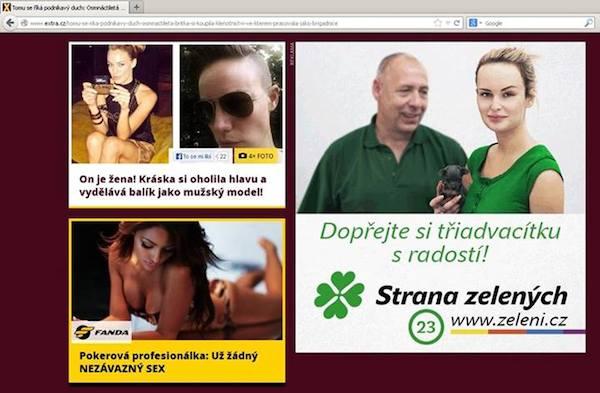 Zelení tvrdili, že jejich kampaň na webu Extra.cz pocházela od externích grafiků a nebyla schválena