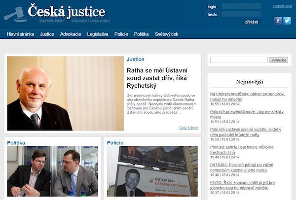 Titulní strana webu Česká justice