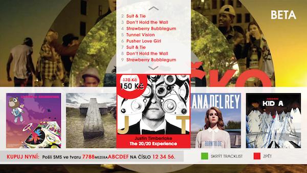 Aplikace HbbTV pro nákup hudby na Óčku
