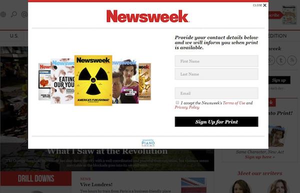 Online systém Piano bude Newsweeku zprvu sloužit pro objednávky tištěného časopisu