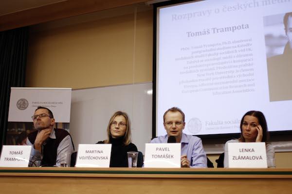 Diskutéry tentokrát byli (zleva) Tomáš Trampota, Martina Vojtěchovská, Pavel Tomášek a Lenka Zlámalová. Foto: Kateřina Písačková