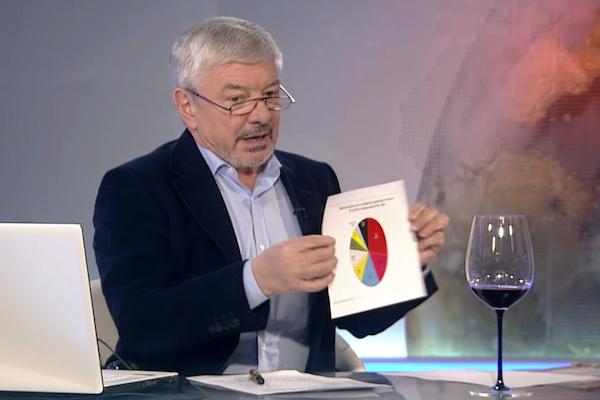 Železný v první lednové relaci poprvé ukázal pověstné koláče, jimiž proslul na Nově. Repro: barrandov.tv