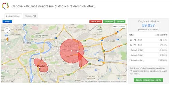 Internetová aplikace České distribuční umožňuje nastavit území pro roznos a podle toho cenu kampaně