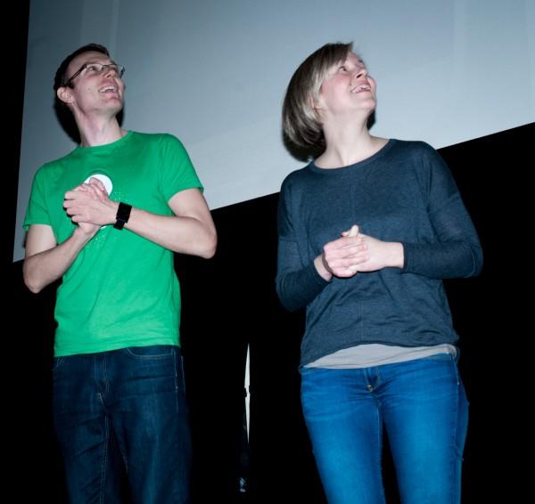 Eva Štípková a Michal Šrajer prezentují aplikaci pro výuku znakové řeči. Foto: Martina Votrubová