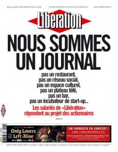Titulní strana Libération z neděle 9. února