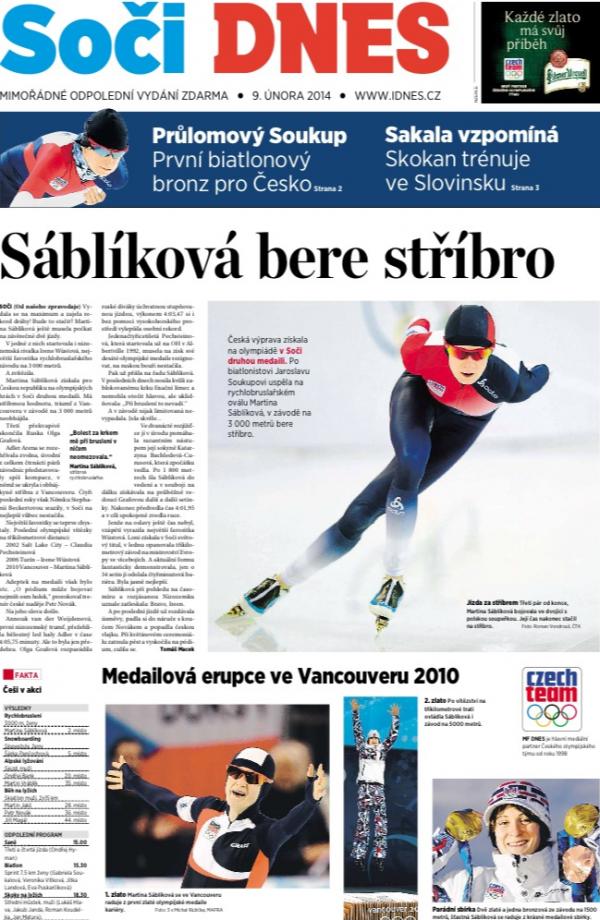 Titulní strana speciálu MF Dnes k Soči z neděle 9. února