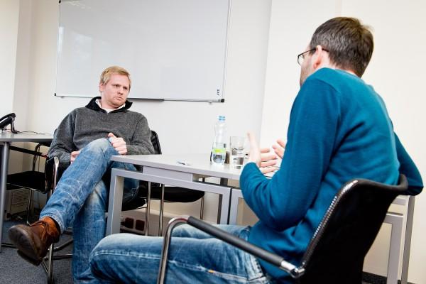 Rozhovor probíhal v branickém sídle vydavatelství Empresa Media. Foto: Vojta Herout